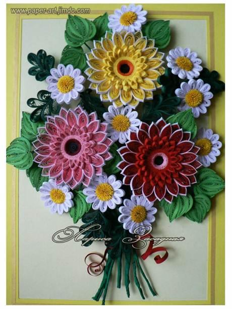 Бумажная картина с цветами