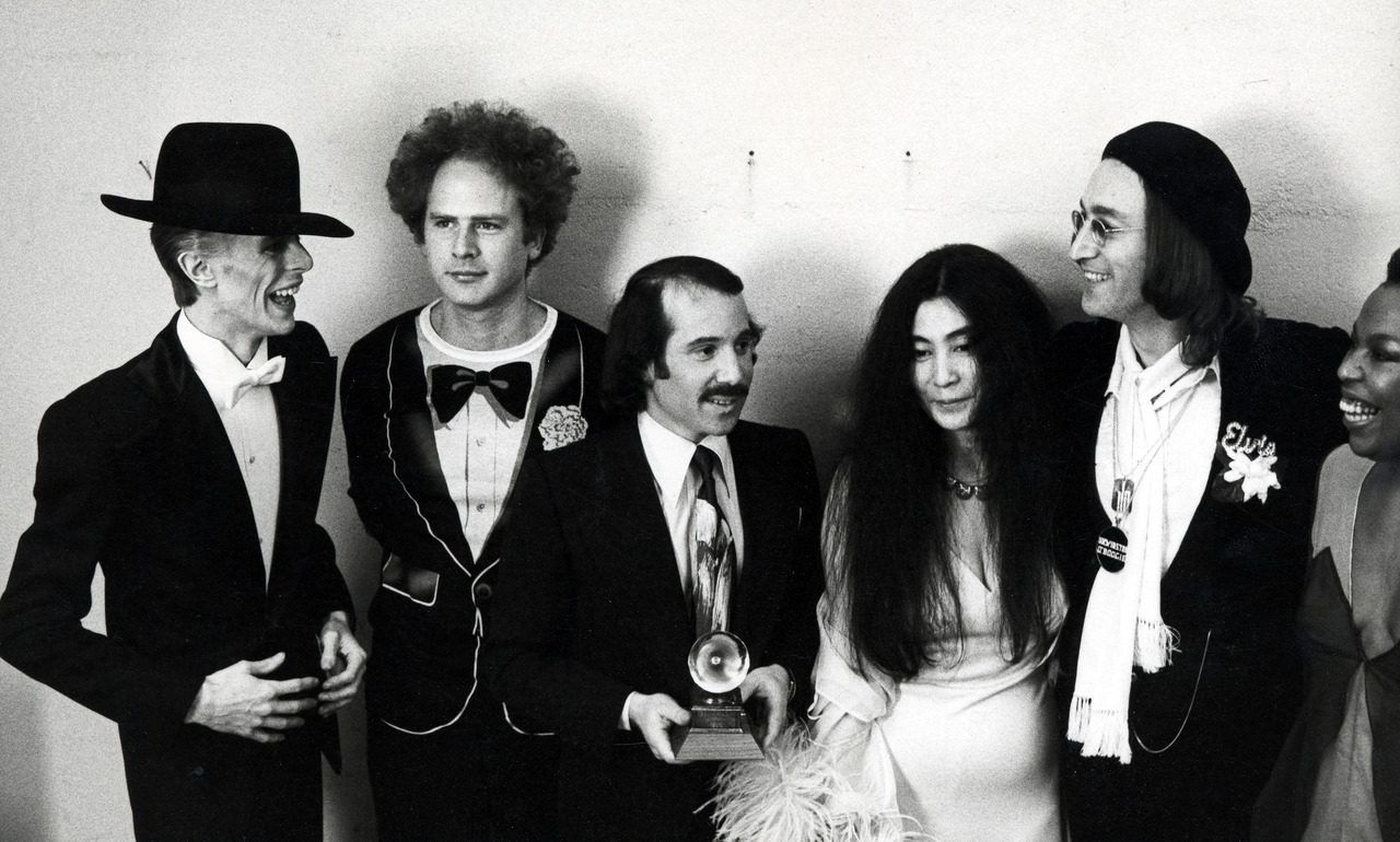 David Bowie, Art Garfunkel, Paul Simon, Yoko Ono and John Lennon at the Uris Theater in New York City, New York (Photo by Ron Galella/WireImage)