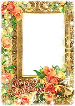 Birthday frame with a bunch of flowers