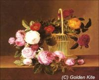 A Basket of Roses on a Ledge (Johan Laurentz Jensen)