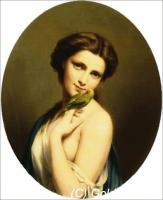 A Young Beauty with a Parakeet (Fritz Zuber-Buhler)