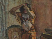 "Анри Лебаск (Henri Lebasque) ""Женщина в гардеробной"""