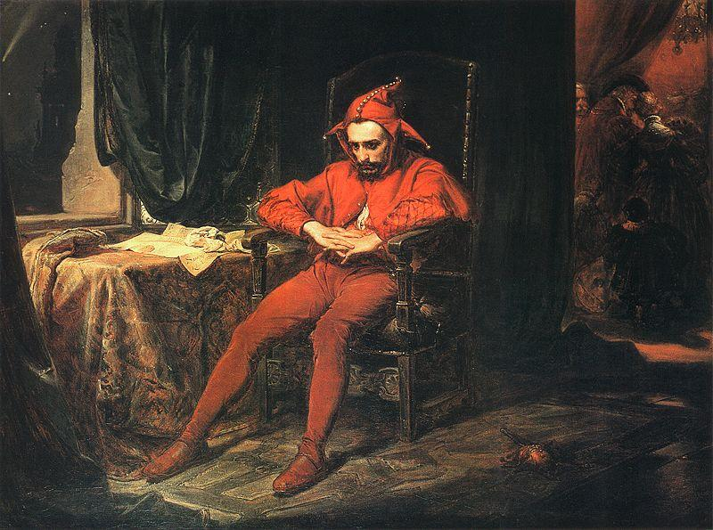 The court jester Stańczyk during a Ball at the Court of Queen Bona after the Loss of Smolensk painted by Jan Matejko, 1862.